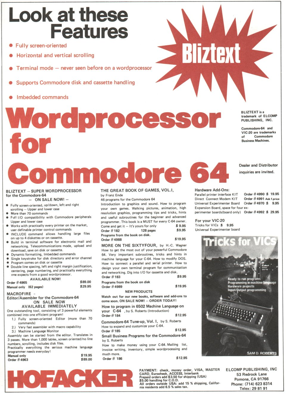 [Advertisement: Bliztext wordprocessor for the Commodore 64 by Hofacker]