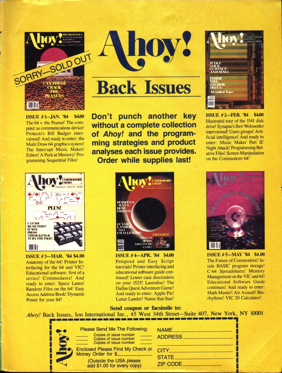 [Advertisement: Ahoy! Back Issues]
