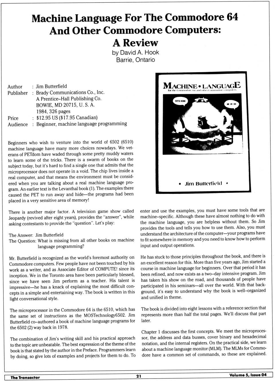 [Machine Language for The Commodore 64 and other Commodore Computers: A Review (1/2)]