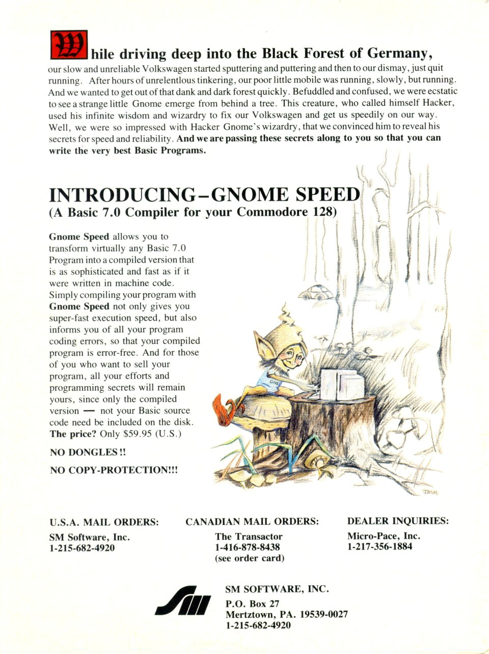 [Advertisement: GNOME Speed, a Basic 7.0 compiler for your Commodore 128 by SM Software, Inc.]