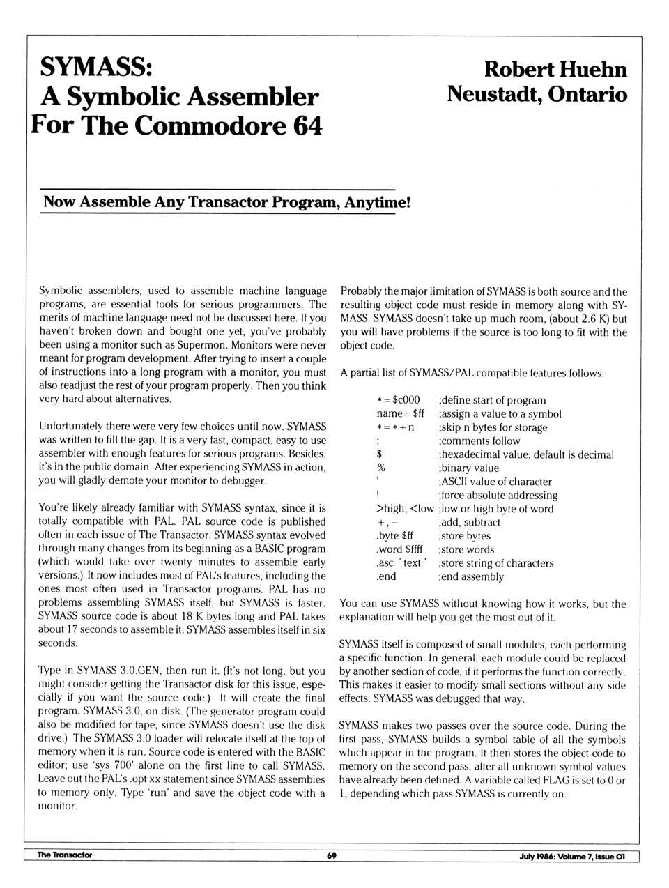 [SYMASS: A Symbolic Assembler for the Commodore 64 (1/8)]