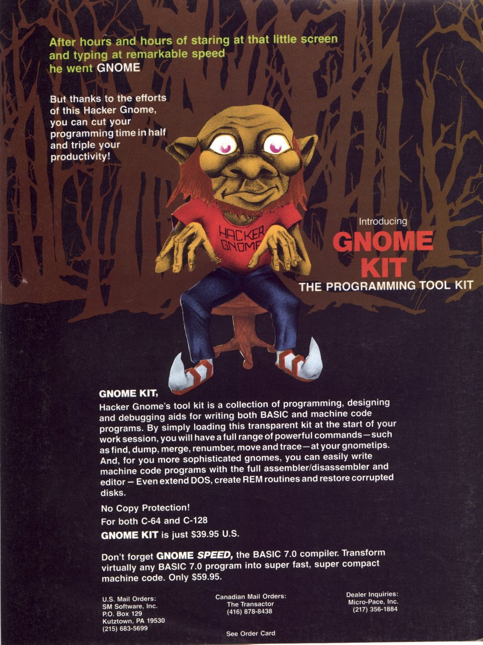 [Advertisement: GNOME Kit (programming, designing and debugging aids for BASIC and machine language programming) by SM Software, Inc.]