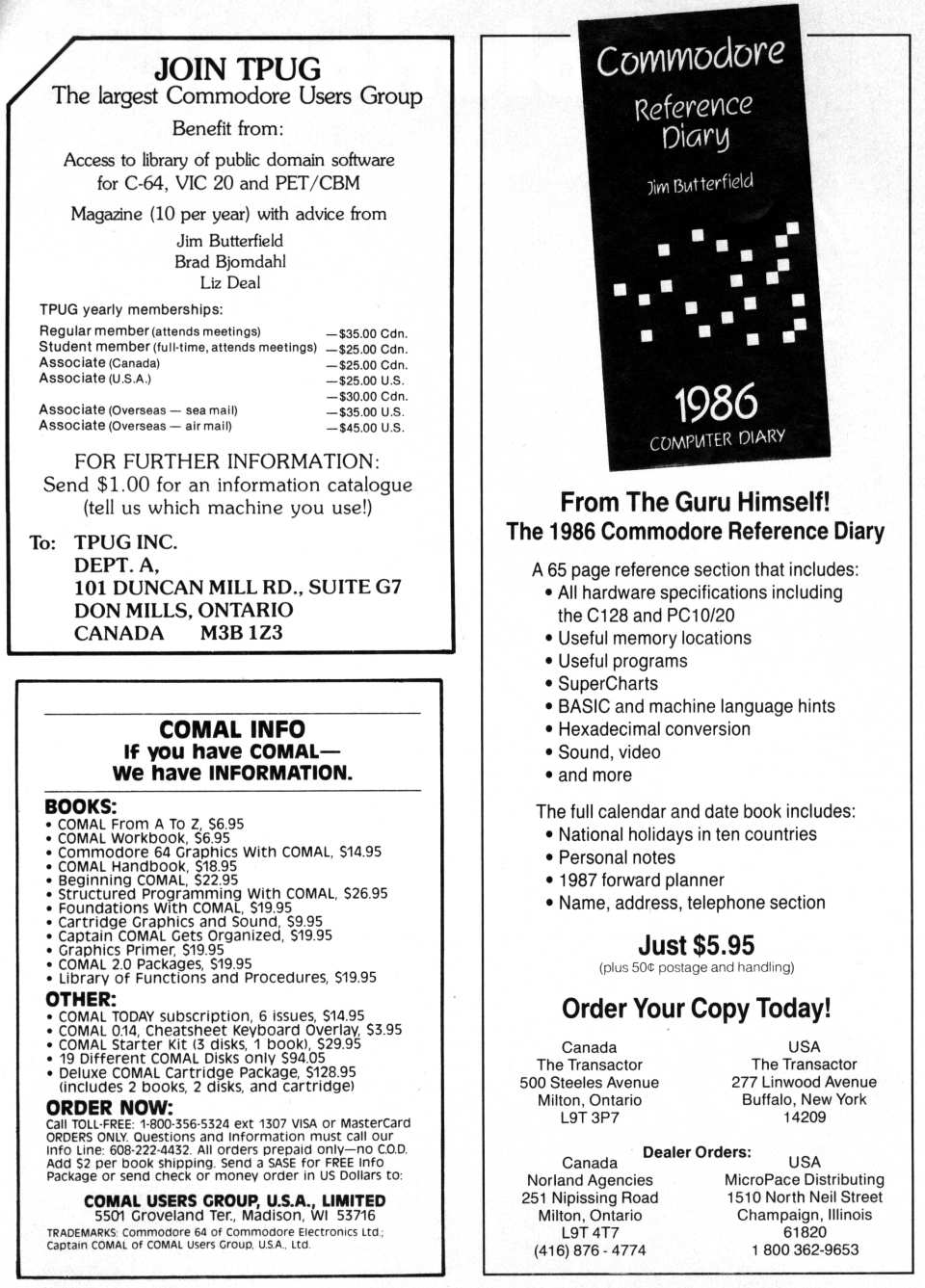 [Advertisement: Join TPUG, COMAL Users Group USA, The 1986 Commodore Reference Diary]
