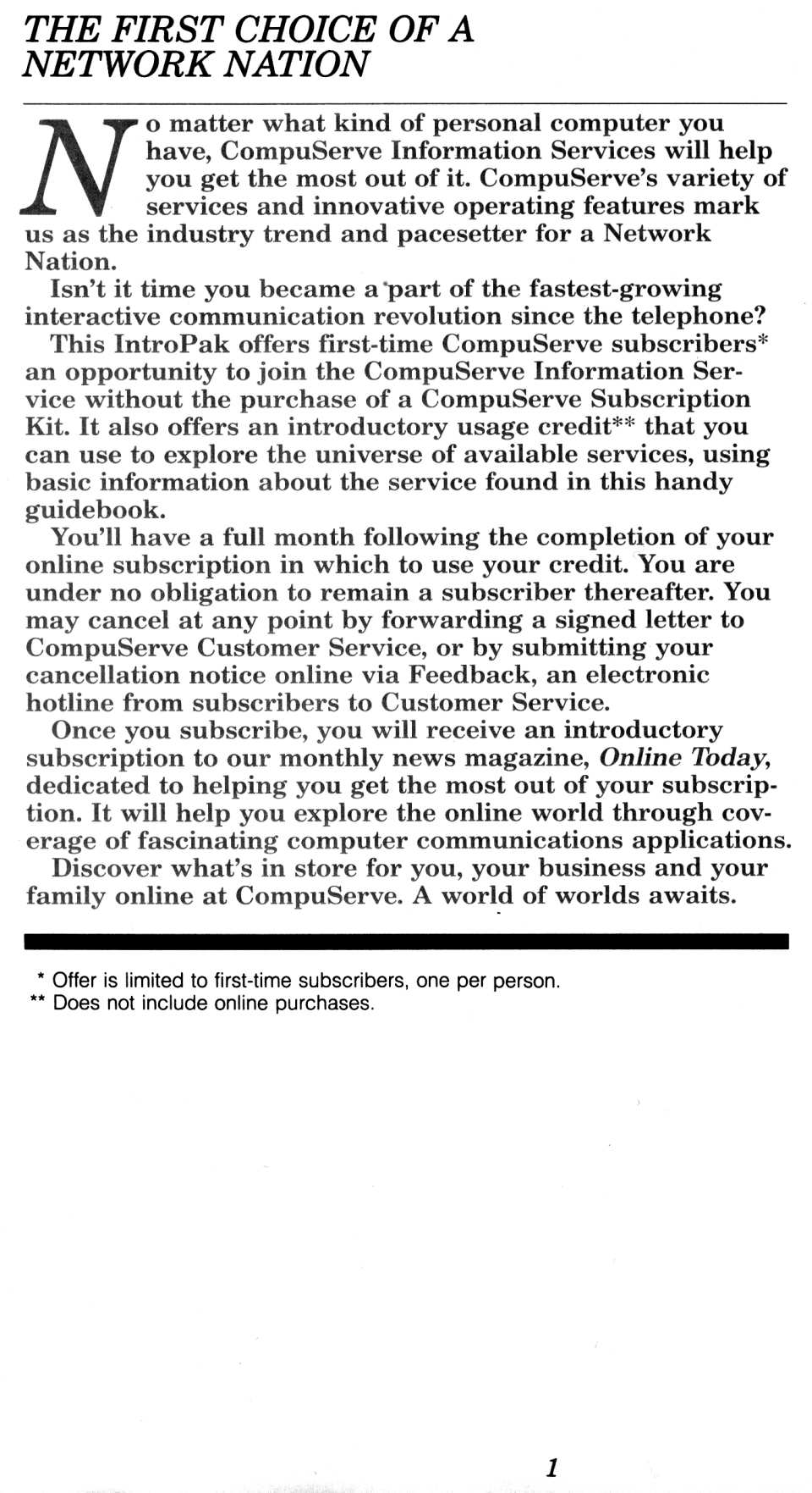 [CompuServe IntroPak page 1/44  The First Choice of a Network Nation]
