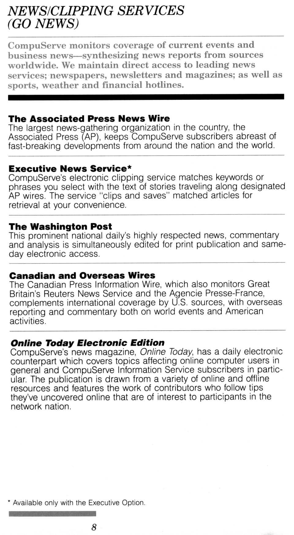 [CompuServe IntroPak page 8/44  News/Clipping Services (GO NEWS)]