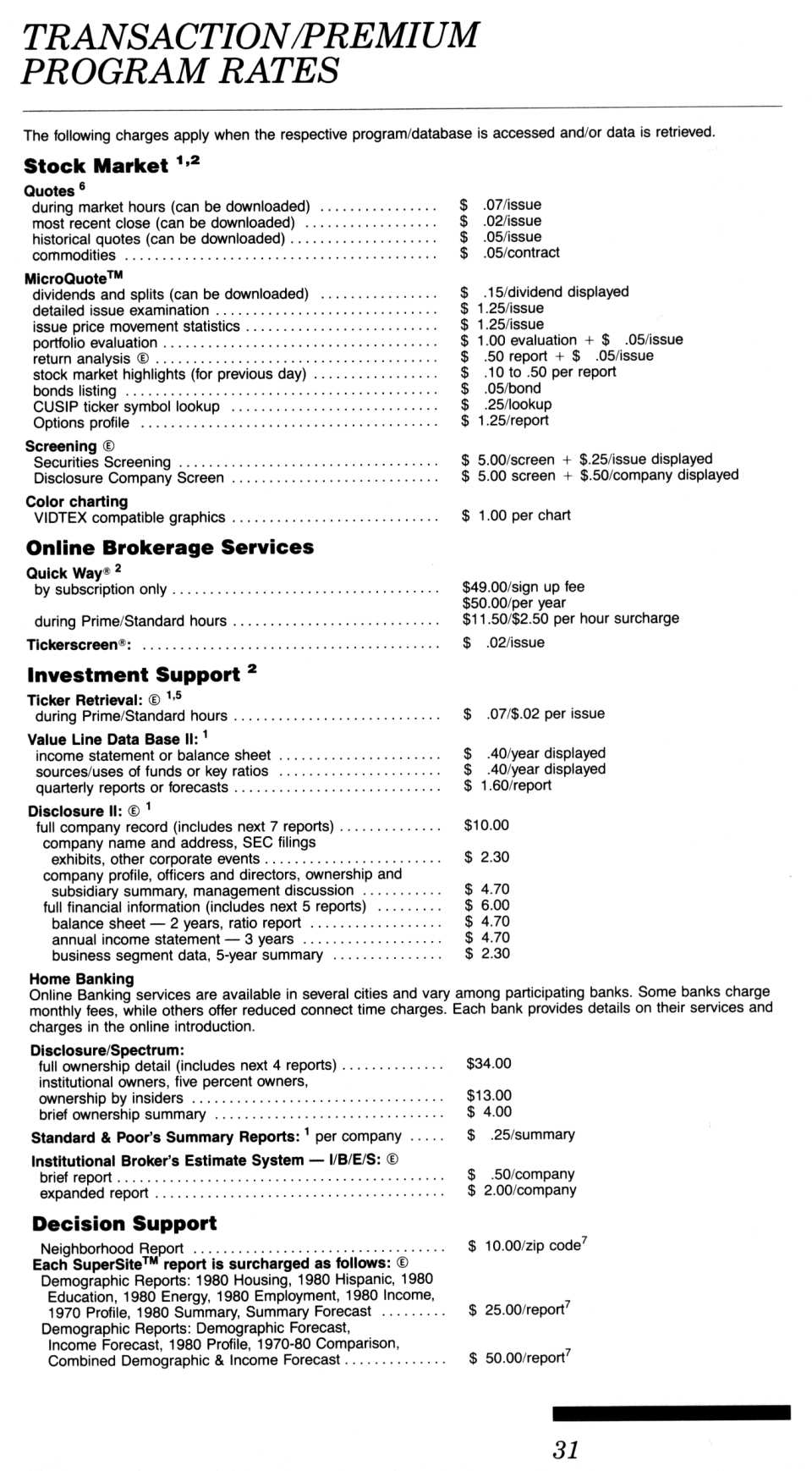 [CompuServe IntroPak page 31/44  Transaction/Premium Program Rates (1/3)]
