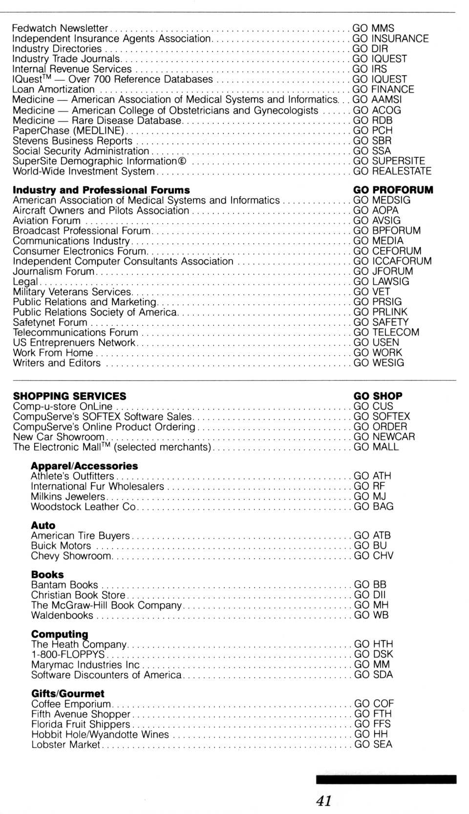 [CompuServe IntroPak page 41/44  Information Service Highlights (5/6)]