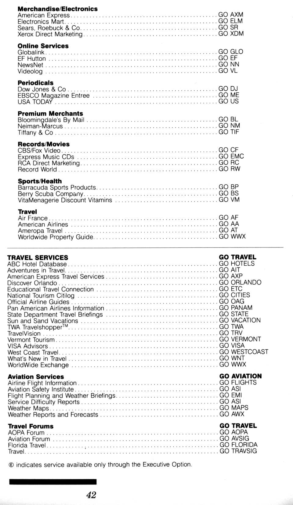 [CompuServe IntroPak page 42/44  Information Service Highlights (6/6)]
