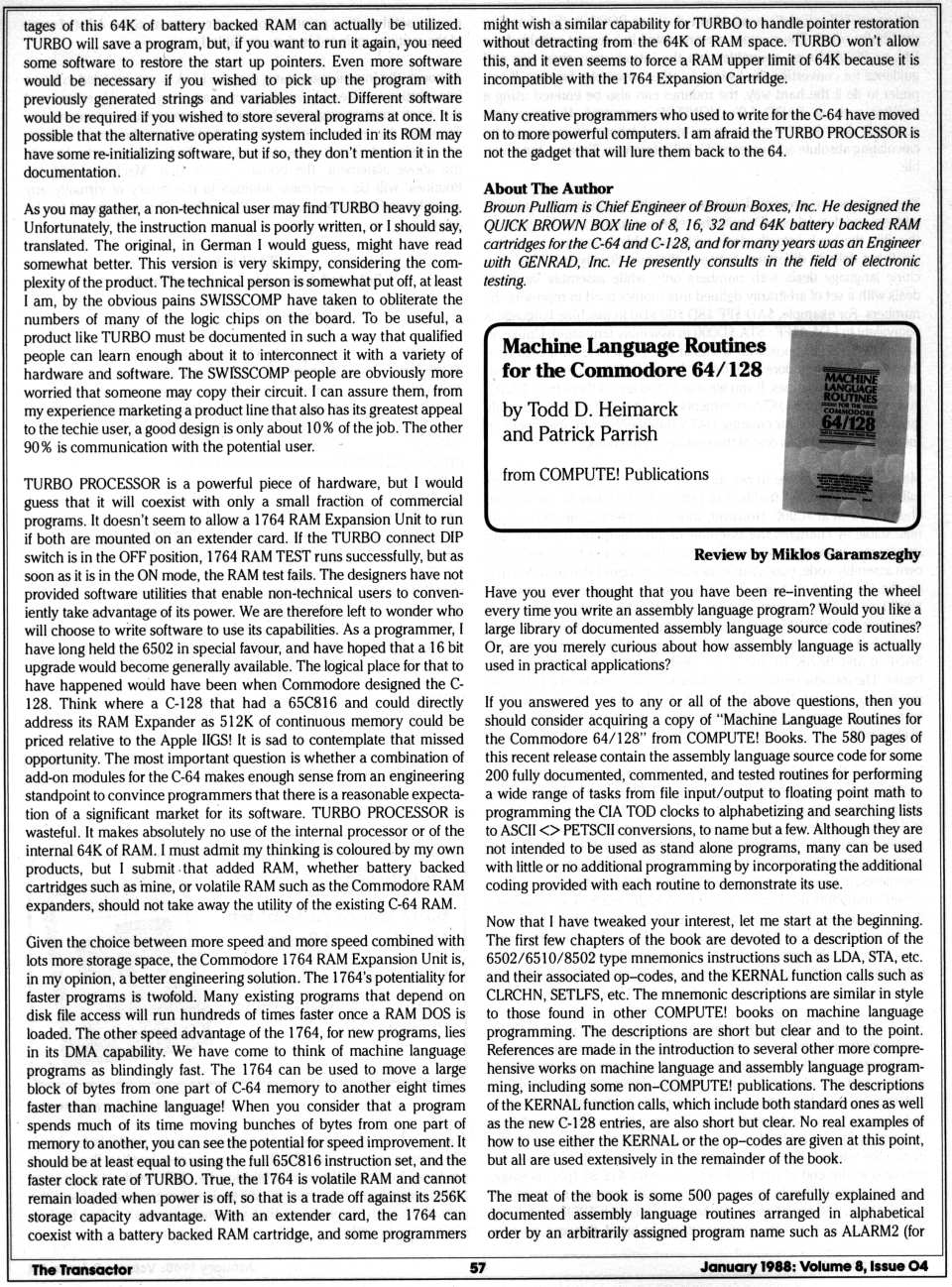 [Reviews  The Turbo Processor for the C64 (2/2)  Machine Language Routines for the Commodore 64/128 (1/2)]