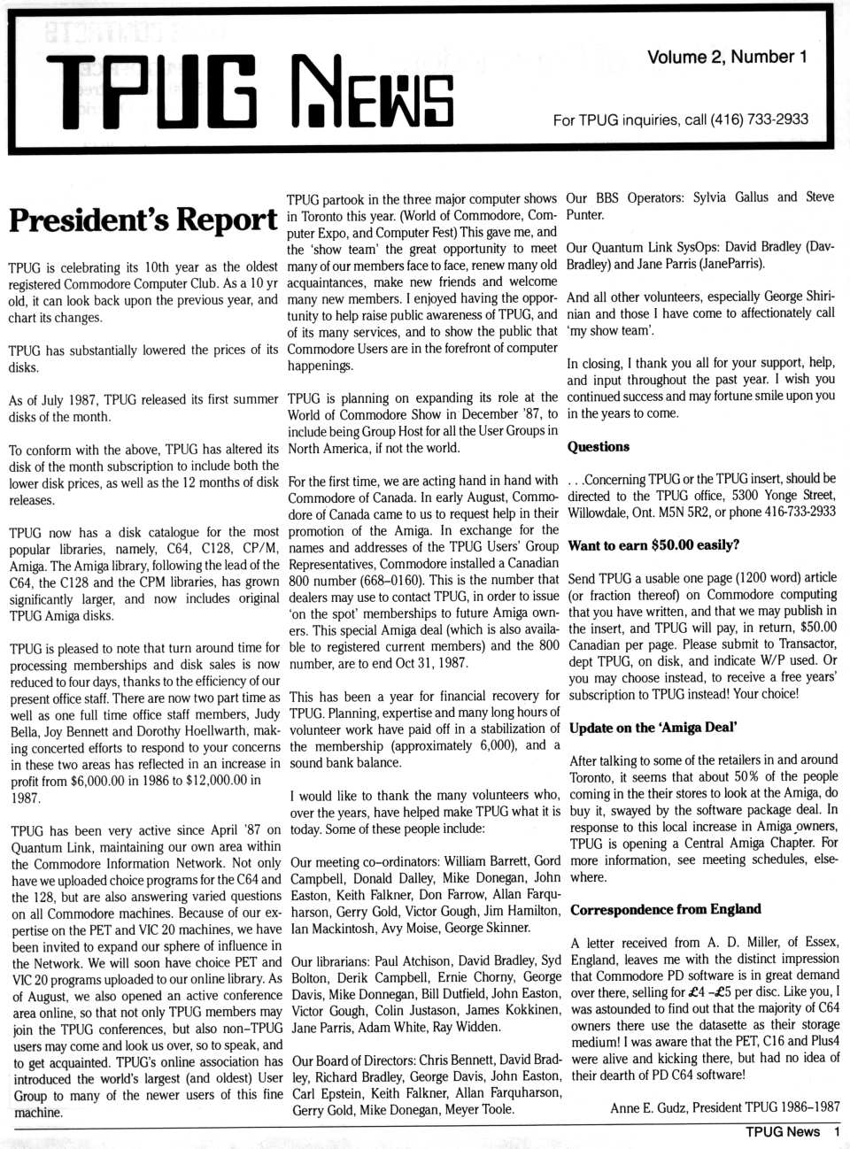 [TPUG News, Volume 2, Number 1, page 1  President's Report]